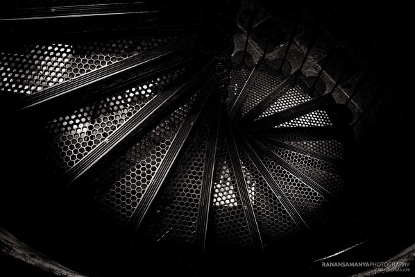 Bw old staircase